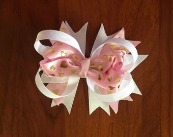 Pink with Gold Hearts Boutique Bow