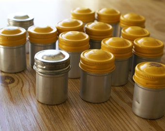 Vintage Metal Film Canisters (15) - some with film still inside