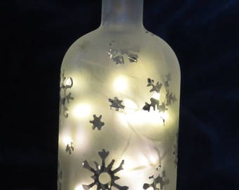Etched Glass Bottle with Snowflakes, Lighted