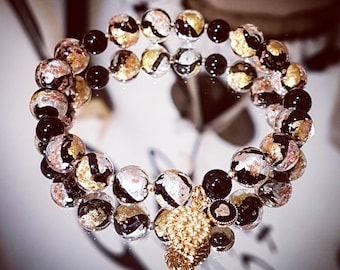 Bracelet gold Murano glass with beads and pendant