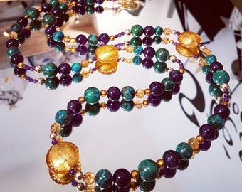 Necklace double gems Chrysocollas and Amethyst with gold and gold Murano glass beads
