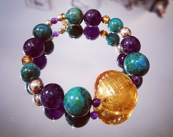 Bracelet of Chrysocollas and Amethyst gemstones with gold and gold Murano glass beads