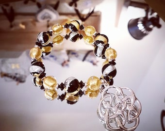 Beaded Bracelet (with leaves and gold) Murano glass, silver and Swarovski Crystal beads and pendant arabesques