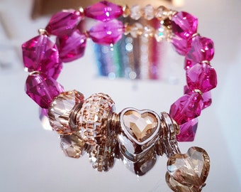 Bracelet while BeCharmed Goldenshadow and faceted fuchsia Swarovski Crystal and gold beads