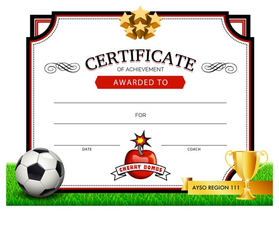 picture relating to Printable Soccer Certificate identify Printable Football Certification