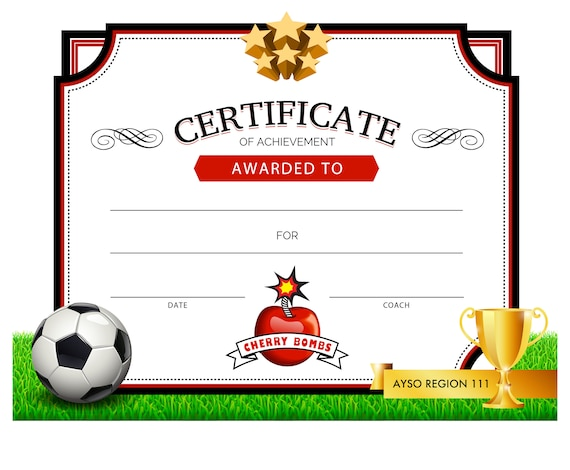 photograph regarding Printable Soccer Certificates titled Printable Football Certification