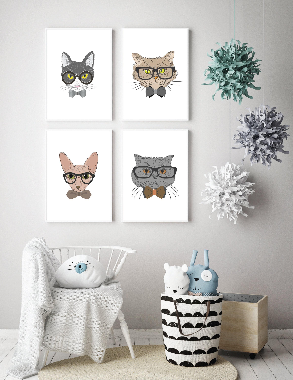 Hipster Cat Prints Neutral Nursery Decor Set Of 4 Cat Prints