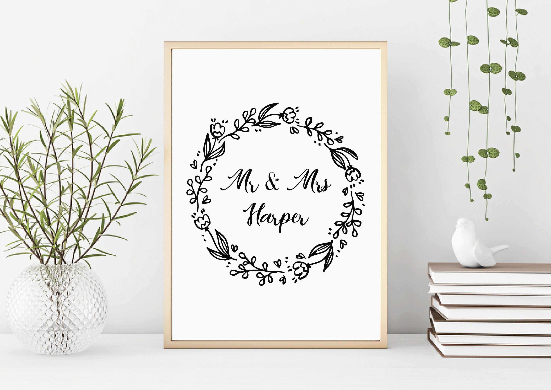 Mr & Mrs Print | Personalised Gift | Wedding Gift | Home Decor ...