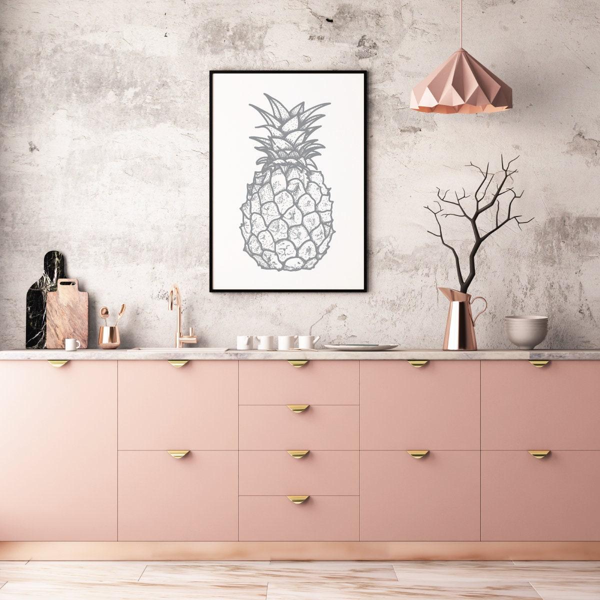 Pineapple print kitchen wall art grey print minimalist print modern wall prints bedroom wall art kitchen prints grey wall art