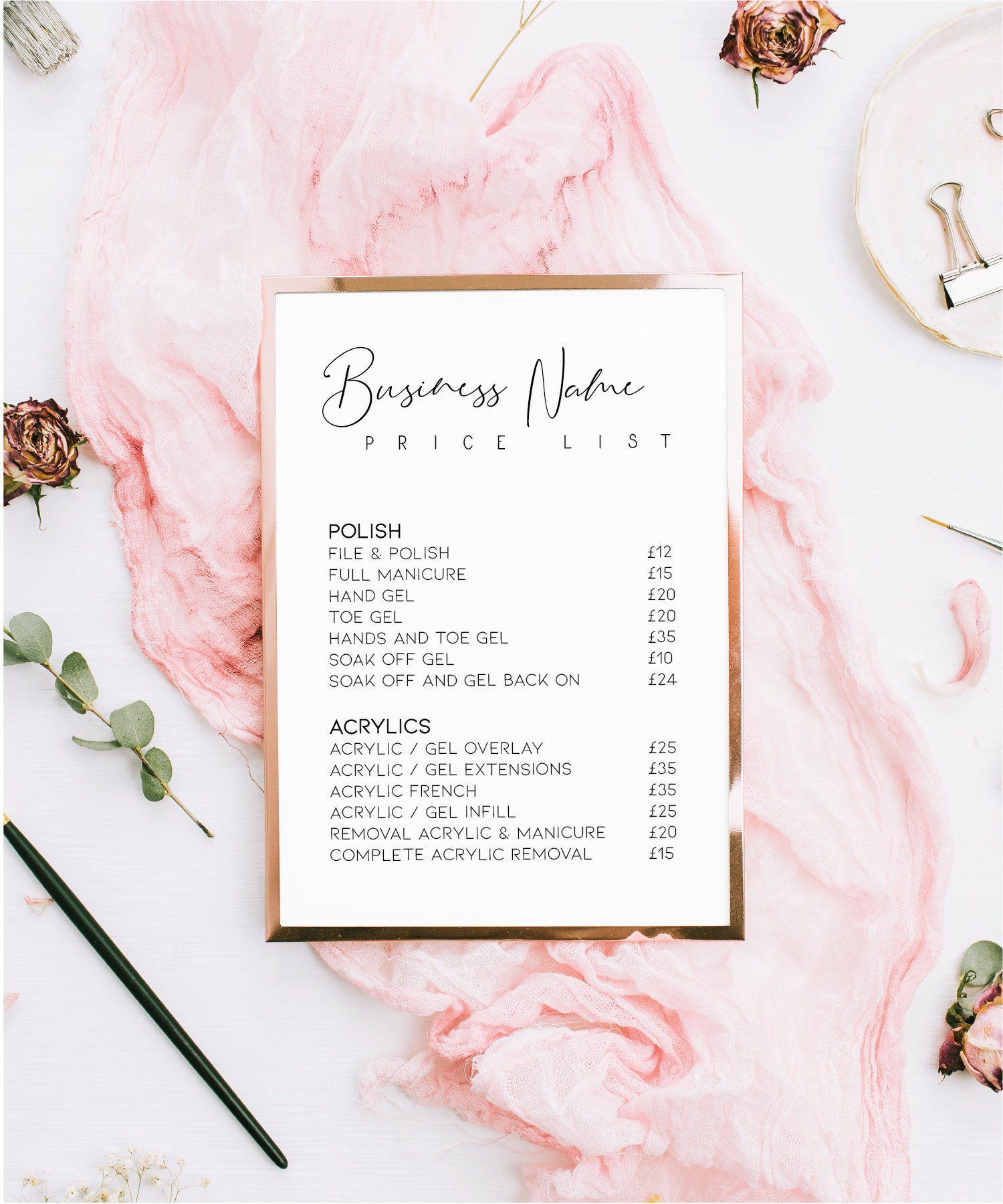 Printed Price List, Beauty Salon Print