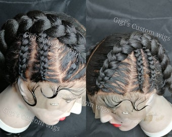 Full Lace wig, Cornrow braided Wig, Dutch braids, braided custom wig, Braided wig, Jumbo braids, box braids, fulani braids
