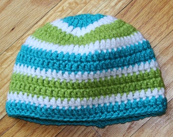 Hand Crocheted Blue and Green Beanie