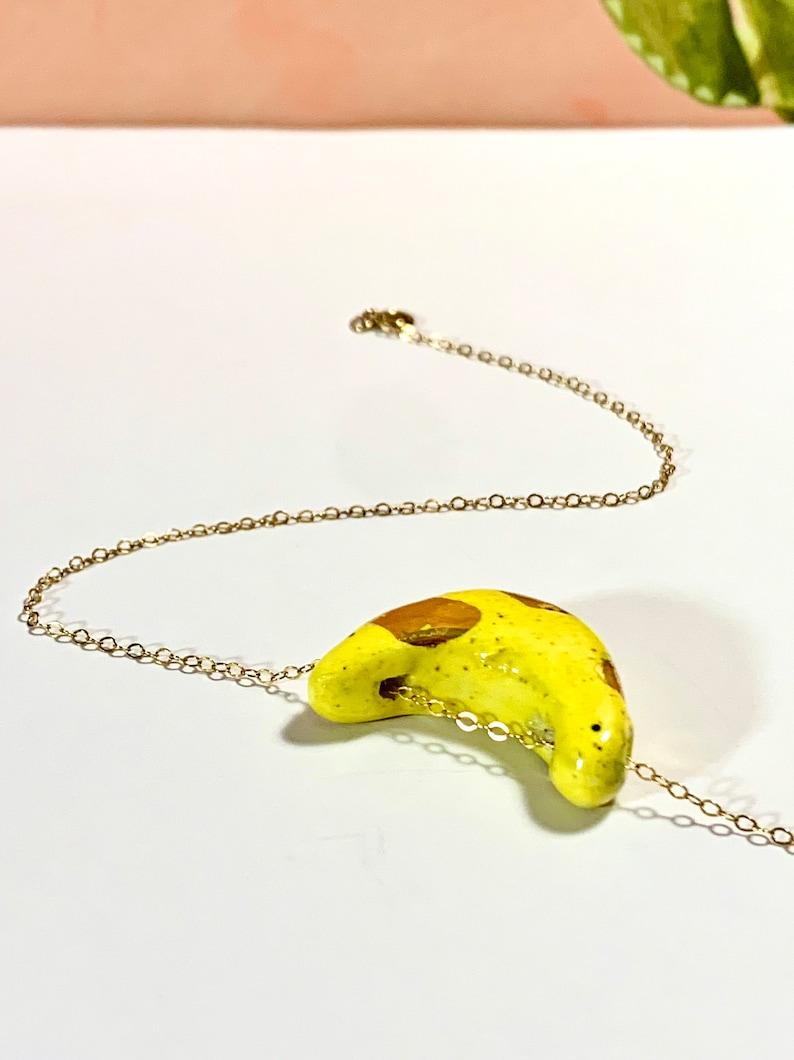 Handmade Ceramic Pendant with 18k Yellow Gold Luster on a 14k Gold Filled Chain Ceramic Bead Banana Bead Ceramic Jewelry Banana Pendant