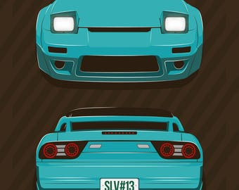 JDM Prints Canvas Japanese Sports Car Nissan Silvia S13   180sx 240sx Sr 20  Det Rb 26 Nismo Print / Poster / Vector Clipart Illustration Art