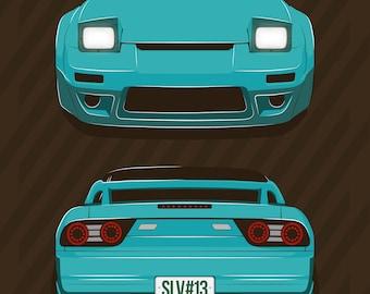 JDM Prints Canvas Japanese Sports Car Nissan Silvia S13   180sx 240sx Sr 20  Det Rb 26 Nismo Print / Poster / Vector Clipart Illustration Art