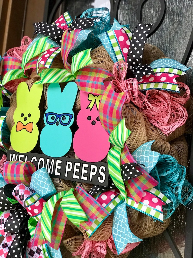 PEEPS Easter bunny large wreath for front door deco mesh burlap Easter decorations pink green blue