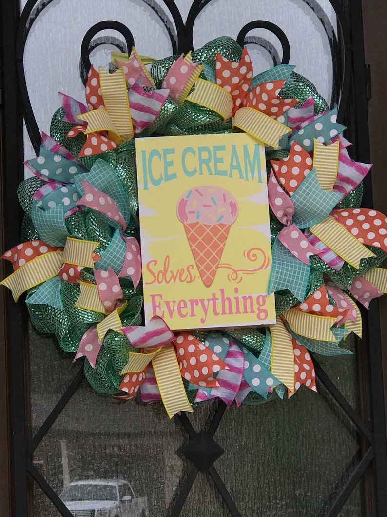 front door wreath gift for ice cream lover ice cream party decoration spring wreath ice cream ice cream door hanger Summer wreath