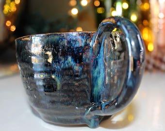Dark metallic and blue ceramic mug, pottery mug, coffee cup, tea cup, hand-built, wheel-thrown