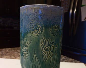 Vase tripod green and blue carved, pottery, Clay, ceramic vase, unique vase,