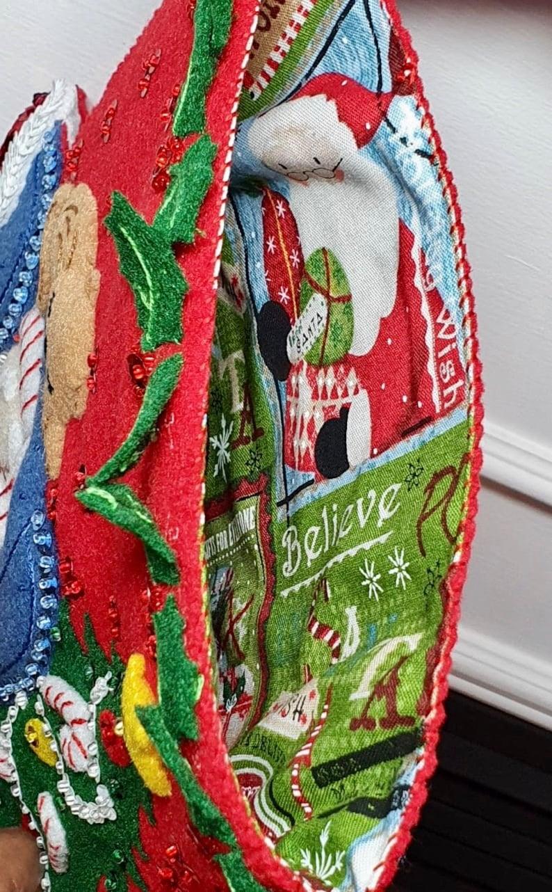 Bucilla Christmas Stocking Christmas Stocking Felt Stocking Santa\u2019s Catnap