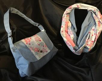 Denim Floral summer bag and infinity scarf set