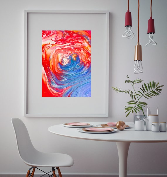 Awe Inspiring Printable Wall Art Acrylic Painting Print Red Blue White And Yellow Downloadable Wall Decor Abstract Cavern Artwork Rose Cavern Pabps2019 Chair Design Images Pabps2019Com