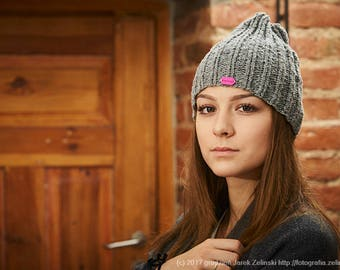 Gray knitted hat, Hand made hat, Pure wool hat, Winter hat, Warm hat