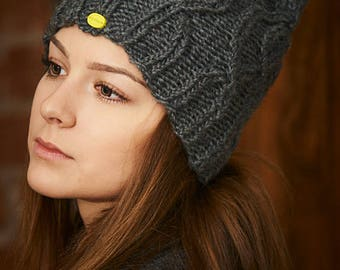 Gray knitted hat, Hand made hat, Wool hat, Winter hat, Warm hat