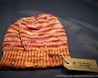 Orange & pink merino hat, Pure wool hat, Hand made hat, Knitted hat, Warm hat, Winter hat