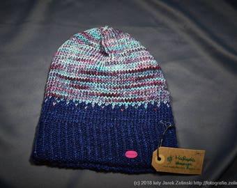 Purple merino hat, Hand made hat, Knitted hat, Winter hat, Warm hat
