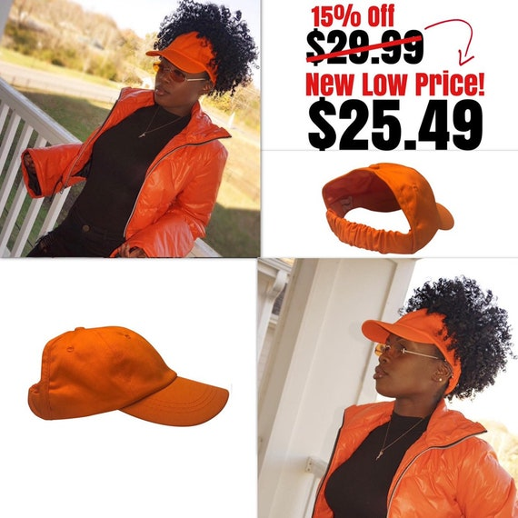 Orange Baseball Hat, Curlcap, Curlcaps, Curly Hair, Natural Hair, Hair Accessories, Head Wraps For Women, Afro, Natural Hair Hat, Ladies Hat