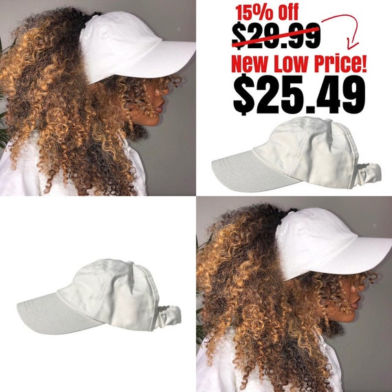Satin Lined Baseball Backless Cap, White dad hat, Protective Styles Hats, Natural Hair Hats, Afro Hair Care, Kinky Curly Hair