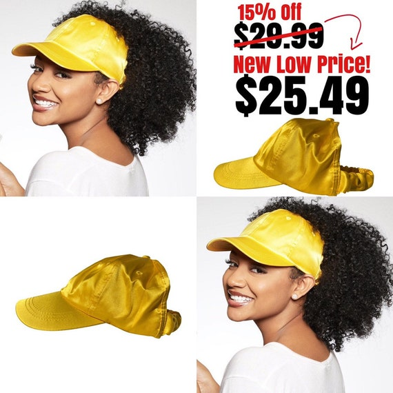 Satin Lined Baseball Backless Cap, Yellow dad hat, Protective Styles Hats, Natural Hair Hats,
