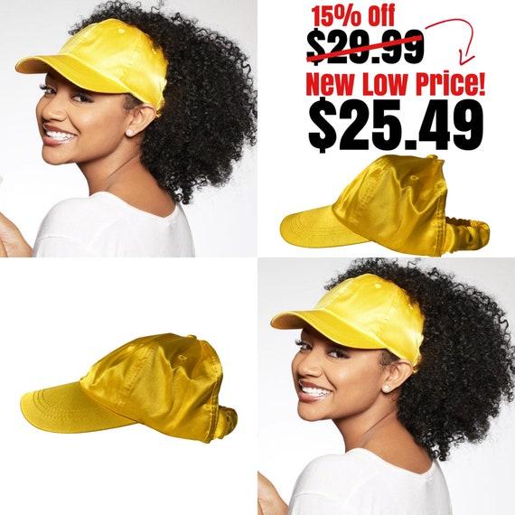 Satin Lined Baseball Backless Cap, Yellow dad hat, Protective Styles Hats,  Natural Hair Hats,