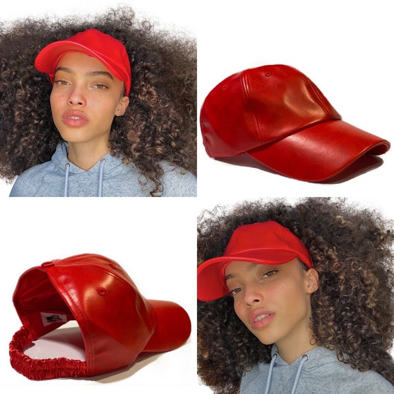 Natural Hair Hats, Red dad hat, Protective Styles Hats, Satin Lined Baseball Cap , Afro Hair Care, Kinky Curly Hair, Leather hat