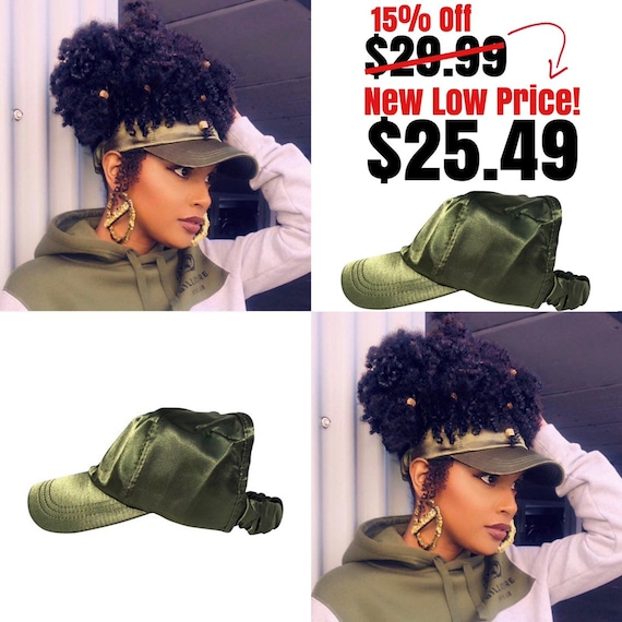 Satin Lined Baseball Cap, Slap cap , Olive Green dad hat, hats for natural hair, satin hair cap , Backless Hat, satin lined head wraps
