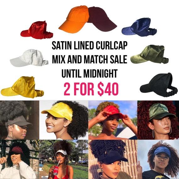 Satin Lined Baseball Cap, Slap cap , dad hat, hats for natural hair, satin hair cap , Backless Hat, satin lined head wraps