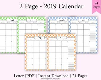 Printable Monthly Calendar 2019 Printable Planner Calendar Etsy