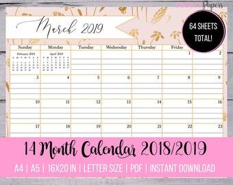 Editable Blank Lined Monthly Calendars Chevron Printable Etsy