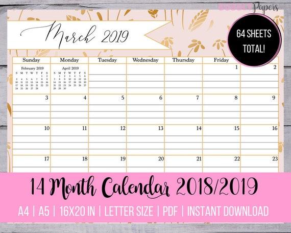 2019 Monthly Calendar Wall Calendar 2019 Lined Calendar 2019 Etsy