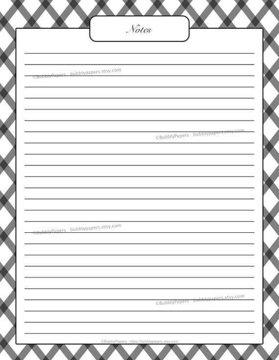 Note Lined Paper College Ruled Printable Notebook Template Pdf Etsy