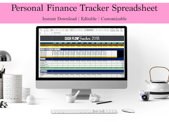 cash flow spreadsheet income expense tracker bill track excel etsy