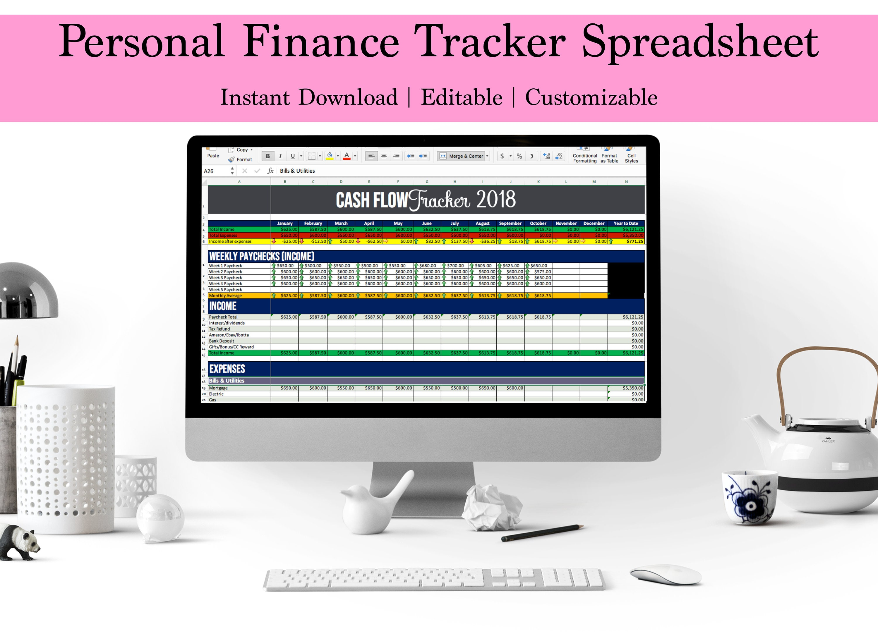 cash flow spreadsheet income expense tracker bill track