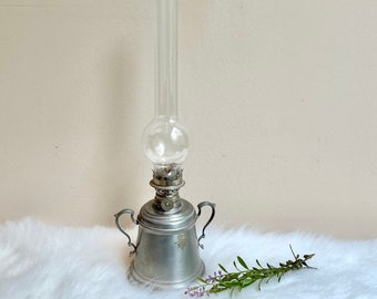 Vintage International Pewter double handle oil lantern with unique glass chimney