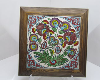 Handmade  Turkish Ottoman Design Wall Art Ceramic Tile With Natural Wood Frame