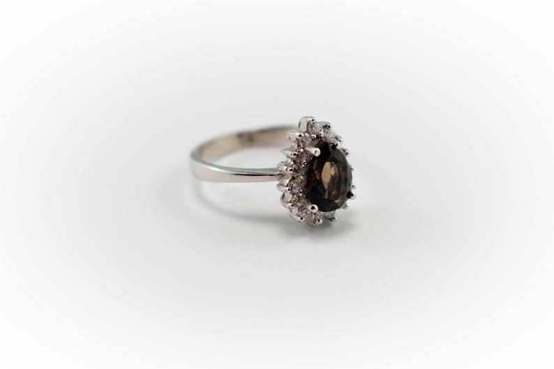 Promise ring Pear Shaped Ring Anniversary ring Engagement ring Smoky Quartz Ring Sterling Silver Ring