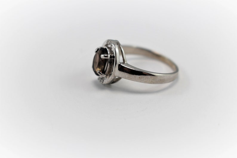 Sterling Silver Ring with Cubic Zirconia Smoky Quartz Ring