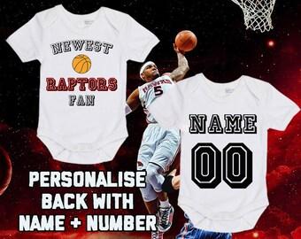 NBA Toronto Raptors Personalised BabyGrow OnePiece Bodysuit Vest