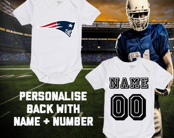 271cd7a1aeb7d NFL New England Patriots Personalised BabyGrow Bodysuit Vest Onepiece  Customised Baby Boy Girl Gift SUBLIMATION INK Football