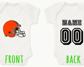 NFL Cleveland Browns Personalised BabyGrow Onezie Bodysuit Vest Onepiece  Customised Baby Boy Girl Gift SUBLIMATION INK Football 7aeb5c271